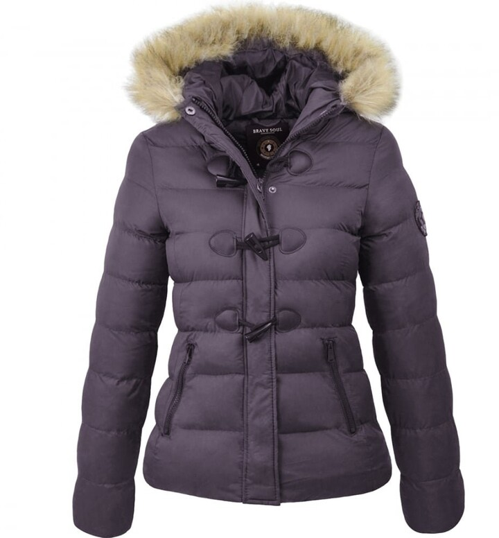 Brave Soul Womens Ladies Designer Faux Fur Hooded Short Jacket Quilted Puffer Padded Coat UK 16 / X Large Black