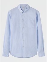 Jigsaw Cotton Horizontal Striped Slim Fit Shirt, Sky Blue