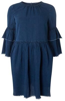 Dorothy Perkins Womens **Only Blue Ruffle Sleeve Skater Dress, Blue