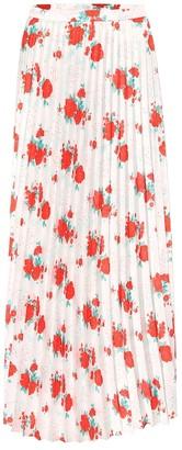 Vetements Floral plisse twill midi skirt
