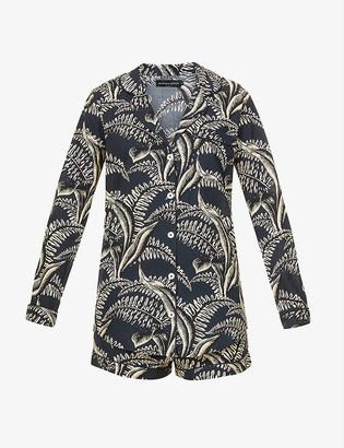 Desmond & Dempsey Fern-print cotton pyjama set