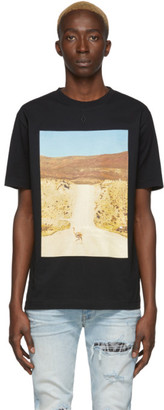 Marcelo Burlon County of Milan Black and Beige Ostrich T-Shirt