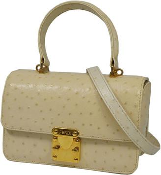Fendi Beige/Brown Ostrich Embossed Leather Shoulder Bag