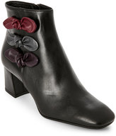 Alberto Zago Black Bow-Accented Leather Block Heel Ankle Boots
