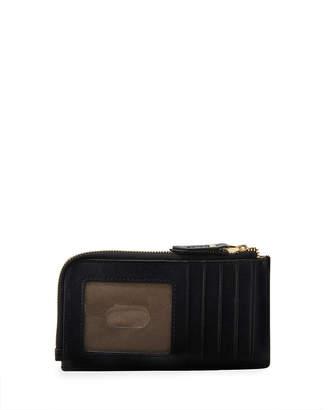 Neiman Marcus Saffiano Slim Card Case Zip Pouch