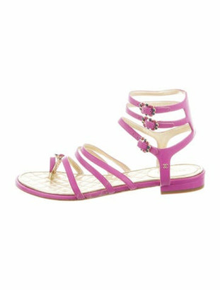 Chanel Leather Crystal Embellishments Gladiator Sandals Purple