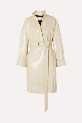 Alexandre Vauthier Oversized Belted Patent-leather Trench Coat - Ivory
