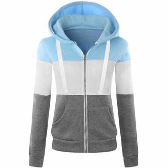Kalorywee Coats KaloryWee Womens Zip Up Hoodies Ladies Girl Womens Block Zip Up Sweatshirt Hooded Hoodie Coat Striped Jacket Top Blue