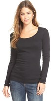 Caslon Petite Women's 'Melody' Long Sleeve Scoop Neck Tee