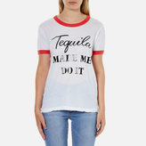 Wildfox Couture Women's Tequila Hour Vintage Ringer TShirt - Clean White/Poppy Red