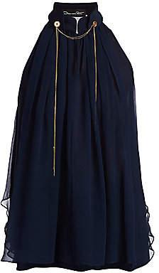 Oscar de la Renta Women's Sleeveless Halterneck Chiffon Silk Blouse