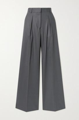 Officine Generale Sophie Pleated Wool-flannel Wide-leg Pants - Gray