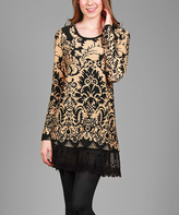 Aster Black & Beige Damask Lace-Trim Tunic