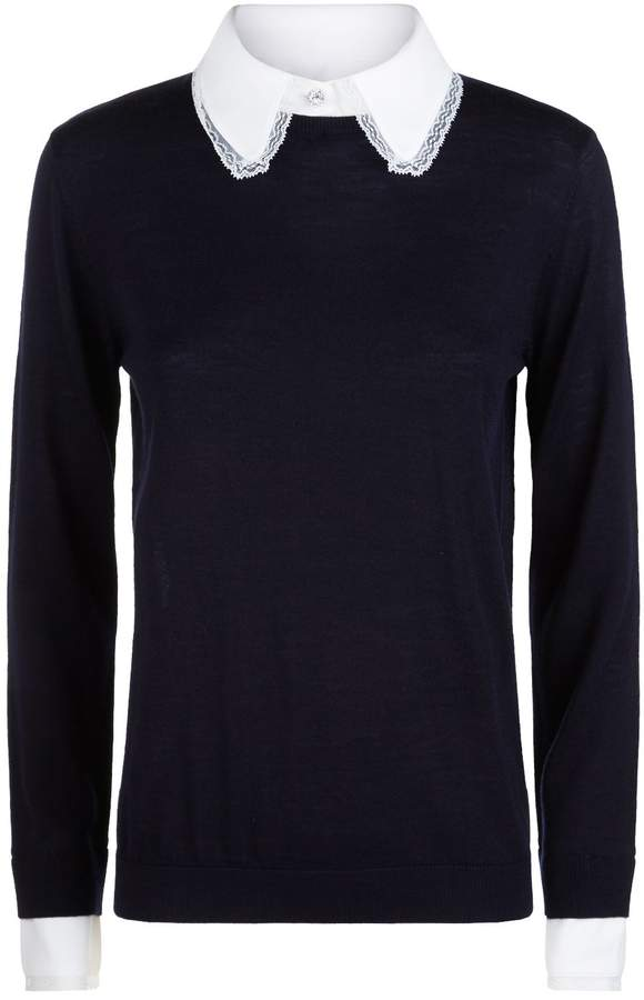 Claudie Pierlot Lace Trim Sweater