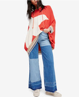 Free People Cotton Patchwork Wide-Leg Jeans