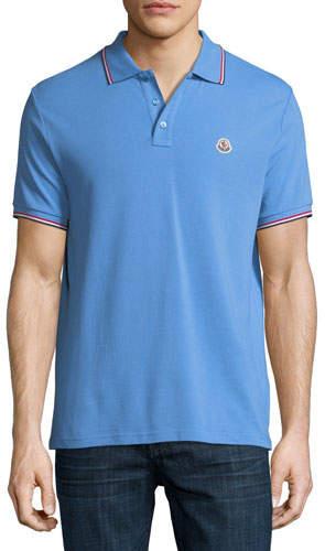 Moncler Classic Pique Patch Polo Shirt, Cornflower Blue