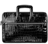 Aspinal of London Connaught Document Case In Deep Shine Black Croc