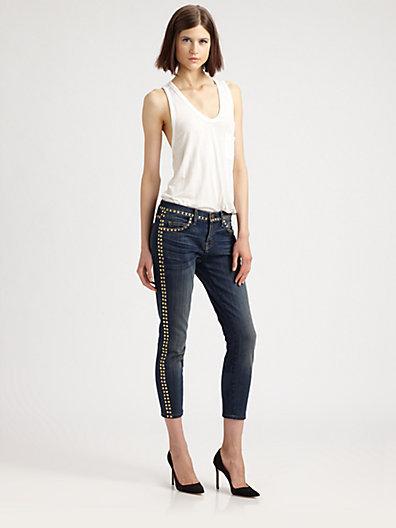 Current/Elliott The Crop Studded Skinny Jeans
