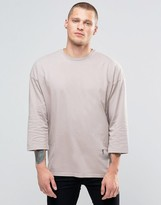 Religion 3/4 Sleeve Crew Neck Top With Drop Shoulder Detail