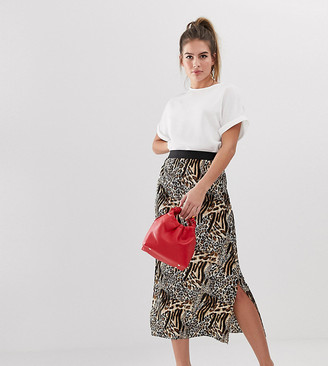 New Look midi skirt with plisse in leopard print-Brown