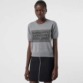 Burberry Short-sleeve Logo Detail Cashmere Top