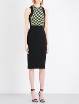 David Koma Macramé and stretch-crepe pencil dress