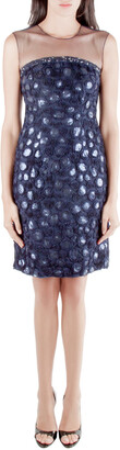 Mikael Aghal Navy Blue Rosette Applique Embellished Sheer Yoke Sleeveless Dress S