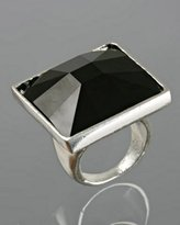 jet square 'Lux' crystal ring