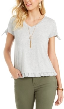 Style&Co. Style & Co Ruffled-Hem Tie-Sleeve Top, Created for Macy's