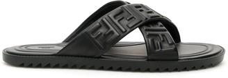 Fendi FF CRISS-CROSS SLIDES 5 Black Leather