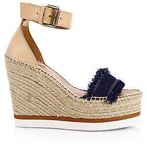 See by Chloe Women's Glyn Denim Wedge Espadrille Sandals