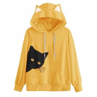 SANFASHION Hoodies for Womens Ladies Sales 2020 Winter Warm Under 10 Best Gift for Girlfriend Cat Long Sleeve Hoodie Sweatshirt Hooded Pullover Tops Blouse YE/XL