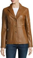 Neiman Marcus Fitted Leather Blazer Jacket, Luggage