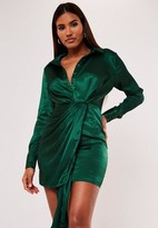 Missguided Green Textured Satin Knot Shirt Dress