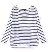 Navy Stripe Boatneck Cashmere Pullover