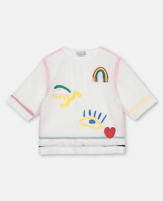 Stella McCartney hearts embroidery mesh cotton t-shirt