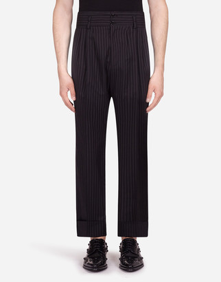 Dolce & Gabbana High-Waisted Pinstripe Pants In Stretch Cotton