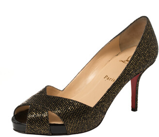 Christian Louboutin Black/Gold Glitter Fabric Shelley Platform Peep Toe Pumps Size 38