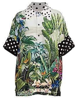 Dolce & Gabbana Women's Polka Dot Trim Tropical Leaf-Print Blouse