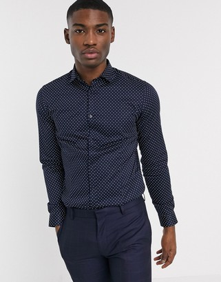 Jack and Jones super slim fit shirt in navy polka dot