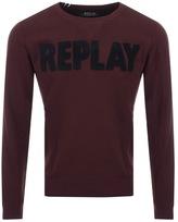 Replay Logo Sweatshirt Burgundy