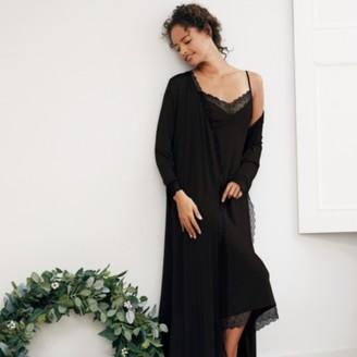The White Company Geometric Lace Trim Maxi Robe, Black, Extra Small