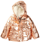 Steve Madden Shiny Cire Puffer Jacket with Faux Fur Lining (Baby Girls)
