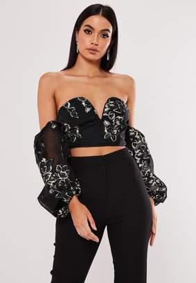 Missguided Black Floral Applique Bardot Crop Top