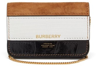 Burberry Crocodile-effect Leather And Suede Cardholder - Tan White