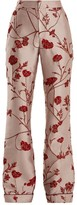 Johanna Ortiz Jancita High-rise Flared Brocade Trousers - Womens - Pink Red