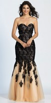 Dave and Johnny Cascading Lace Leaf Strapless Prom Dress