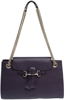 Gucci Purple Leather Large Emily Chain Shoulder Bag