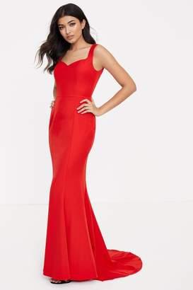 Jarlo Womens Petite Fishtail Maxi Dress - Red
