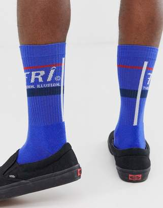 Asos Design DESIGN sport sock in cobalt blue with slogan